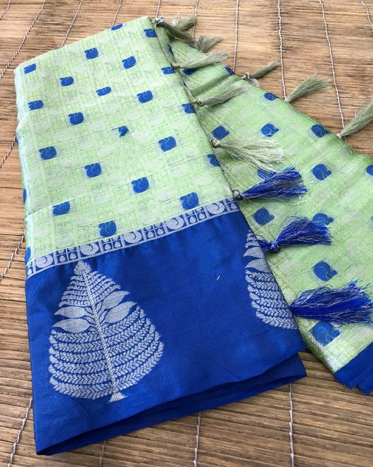 Green With Blue Beautiful Kora muslin soft silk saree