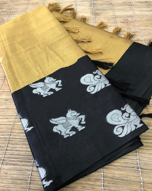 Beige With Black Beautiful Kora muslin soft silk saree