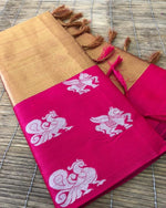 Beige Beautiful Kora muslin soft silk saree