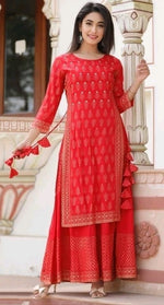 Red Pretty Double Layered Kurthi