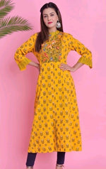 Elegant Yellow Printed Cotton Daily Wear Kurthi