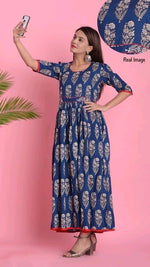 Blue Printed Cotton Comfort Daily Wear Kurthi