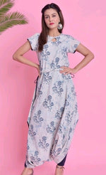 Elegant Blue Floral Printed Cotton Daily Wear Kurthi