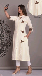 White Comfortable Cotton Daily Wear Kurthi