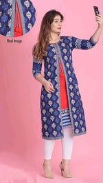 Blue Motif Comfortable Cotton Daily Wear Kurthi