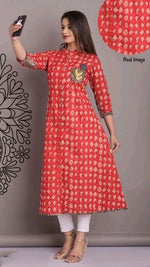 Trendy Red Printed Cotton Daily Wear Kurthi