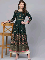 Bottle Green Floral Printed Kurthi