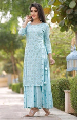 Blue Pretty Double Layered Kurthi