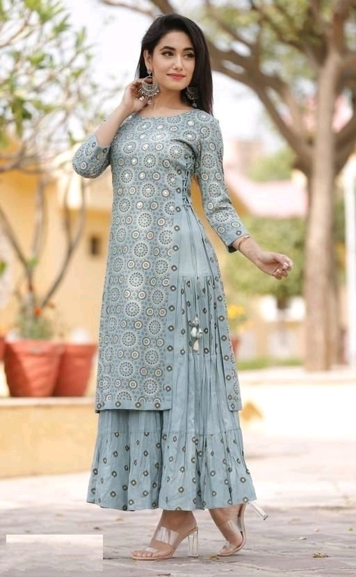 Grey Pretty Double Layered Kurthi