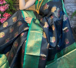 Blue Attractive Zari weaving saree with Rich weaved blouse
