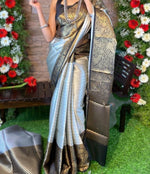 Grey Attractive Zari weaving saree with Rich weaved blouse