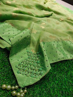 Green Elegant Designer Party Saree With Rice Pearl Work Border