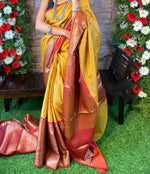 Yellow Attractive Zari weaving saree with Rich weaved blouse