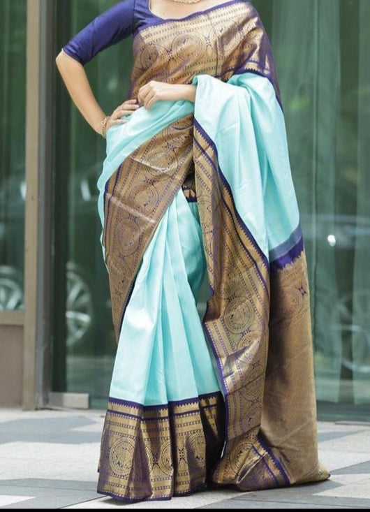 Blue Traditional Soft Silk Kanjeevaram Saree With Rich Gold Zari Weaving Border