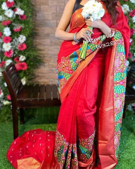Bright Jute With Embroidered Peacock design Party Saree