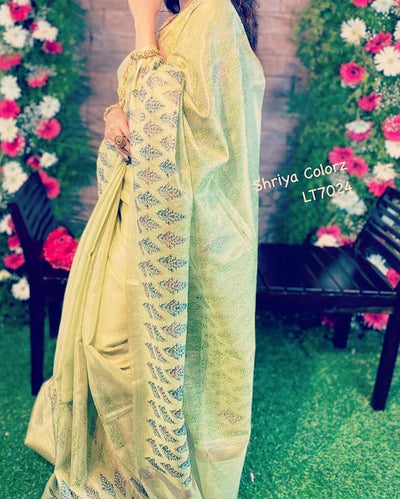 Green Elegant tissue Linen Party Saree