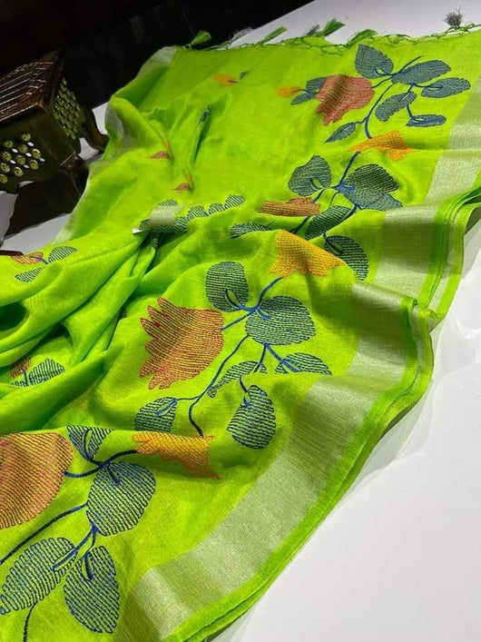 Attractive Green linen Party Saree With Embroidery