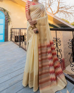 Elegant Chanderi Cotton Party Saree With Ikkat Print