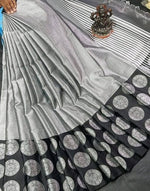 Black Banarasi Silk Saree With Silver Zari