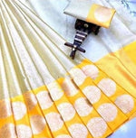 Yellow Banarasi Silk Saree With Silver Zari