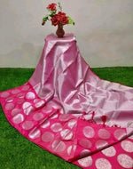 Pink Banarasi Silk Saree With Silver Zari