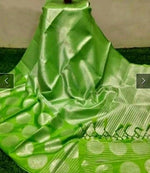 Green Banarasi Silk Saree With Silver Zari
