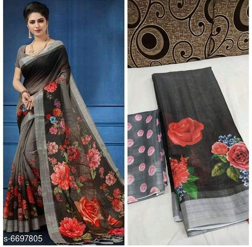 Attractive Bollywood Linen Digital printed Saree # C003
