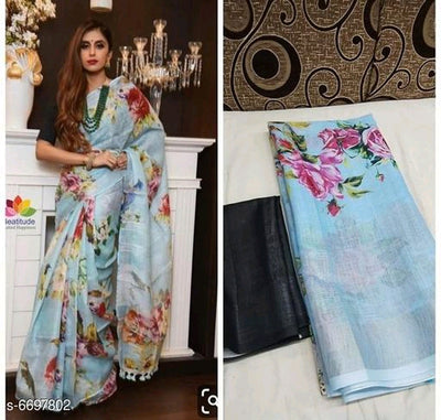 Attractive Bollywood Linen Digital printed Saree # C004