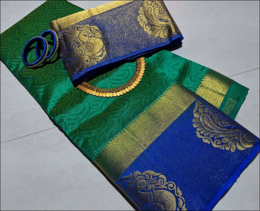 Annapakshi Dupion tussar Silk Sea Green saree Silk Saree