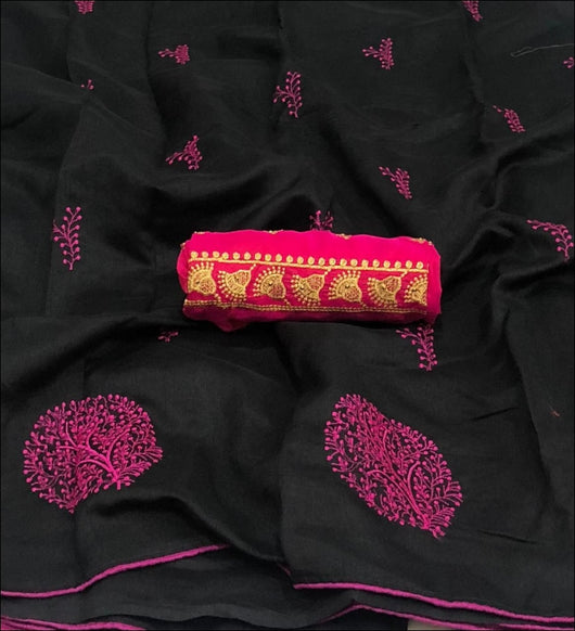 Art silk & cotton tree embroidery black and green collection sarees Party saree