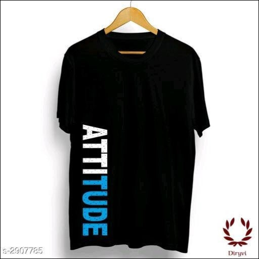 Attitude Mens-Printed-Regular-Fit-T-Shirts Clothing