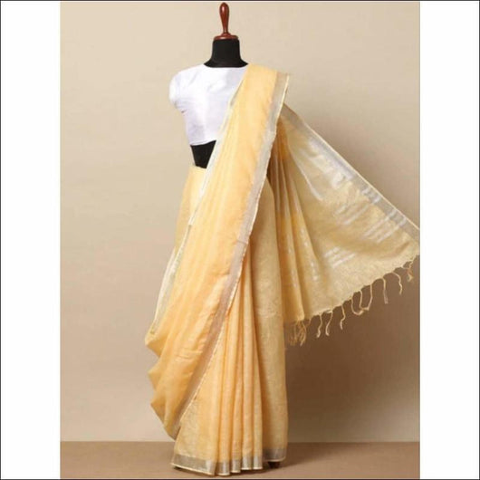 Attractive Half White With Silver Border Trendy Linen Party Saree