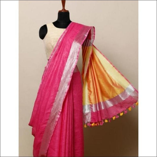 Attractive Pink With Mango Yellow Trendy Linen Party Saree