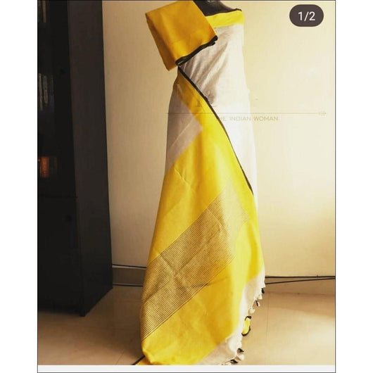 Attractive White With Yellow Border Trendy Linen Party Saree