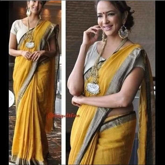 Attractive Yellow With Silver n Black Border Trendy Linen Party Saree