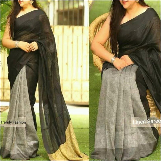 Beautiful Black and silver Linen party saree