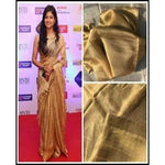 Beautiful Copper Gold linen Party Saree
