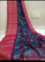 Beautiful Kyrstal Linen weaving saree Party saree