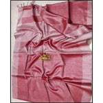 Beautiful Lotus Pink With Silver Border linen Party Saree
