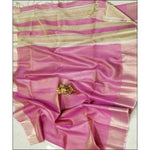 Beautiful Shiny Pink With Gold Border linen Party Saree