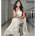 Beautiful Silver Tissue Linen Party Wear Saree With Running blouse Party saree