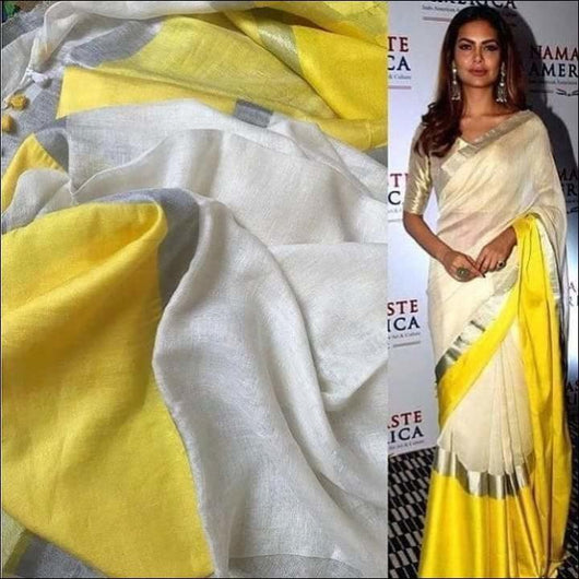 Beautiful White & Yellow Linen Party Wear Saree