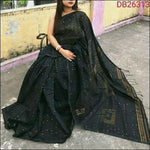 Black Cotton Silk Trendy and Stunning Handloom Party Wear Saree