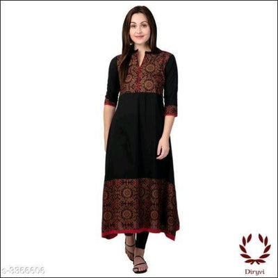 Black Elegant Cotton Women's Kurthi