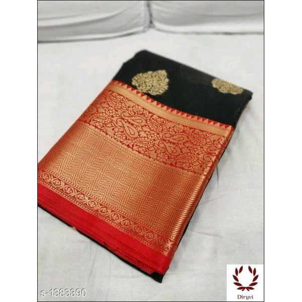 Black Grand Soft Banarasi Silk Saree With Woven And Sari Work