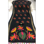 Black Kesh Blended Linen Party Saree With  Worked Pallu and Fancy Tussels