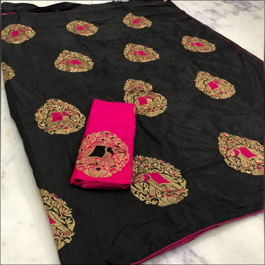 Black Party Wear Milona Silk Saree With Elephant Embroidery Work and Contrast Pink Blouse Party saree