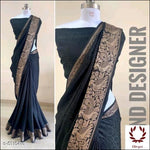 Black Sana Silk Party Saree With Woven Design Party saree