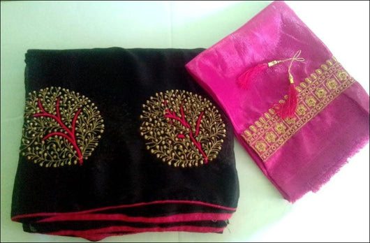 Black Shiffon Party Saree With Pink Tree Embroidery Pattern Party saree