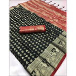 Black Soft Silk Weaving Party Saree With Contrast Blouse